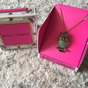 Betsey Johnson Jewel Owl Charm Necklace